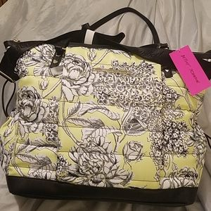 Betsey Johnson lime green floral tote NWT